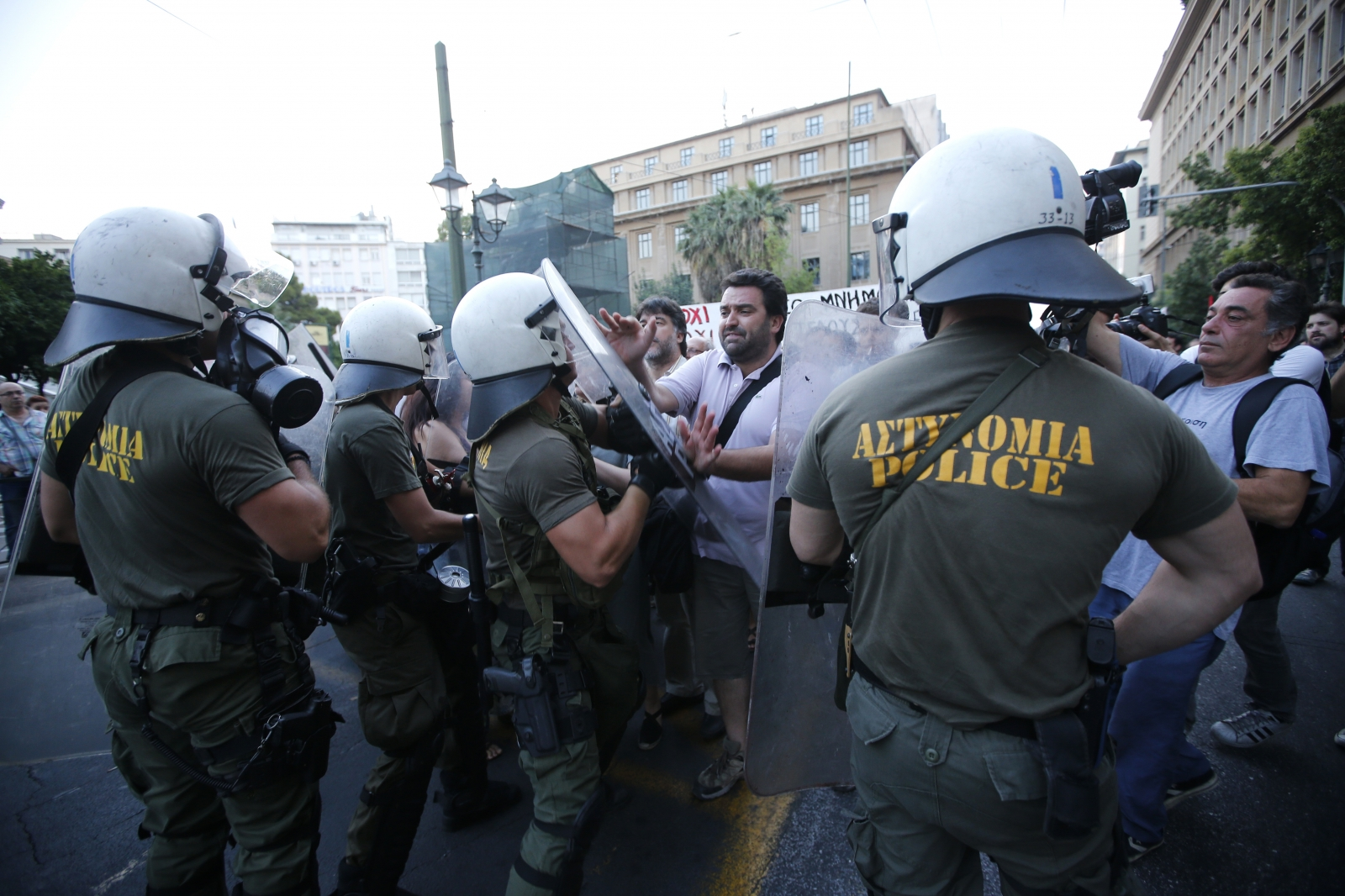 Anti-austerity protestors in Athens