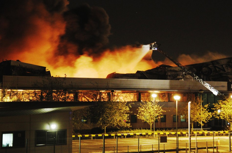 Fire destroys a Sony warehouse in Enfield in north London Aug. 9, 2011