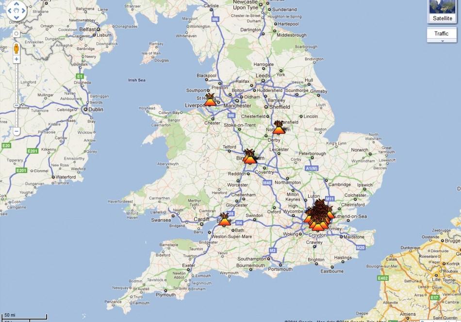 Google Map Charts London Riots