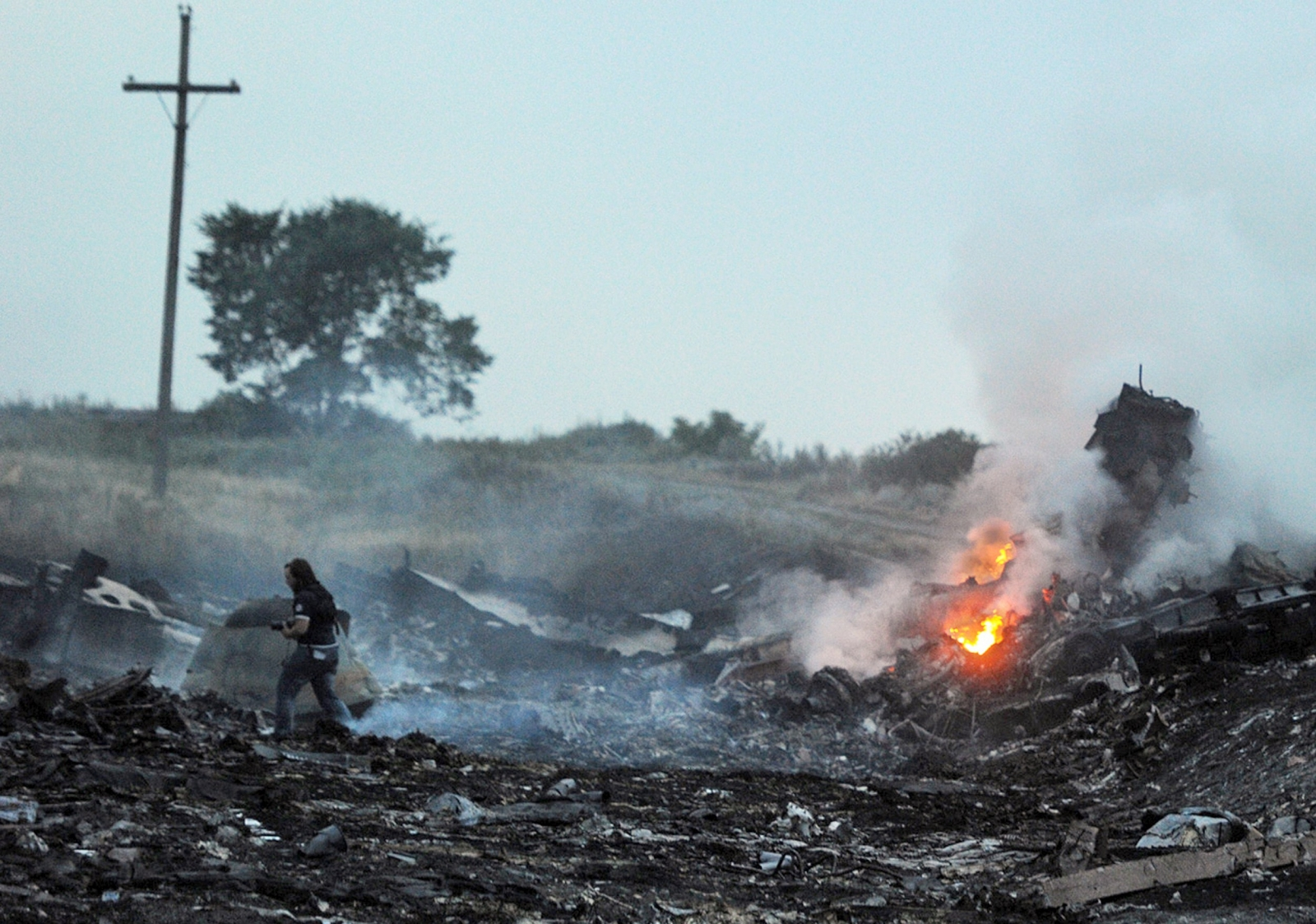 The wreckage of flight MH17