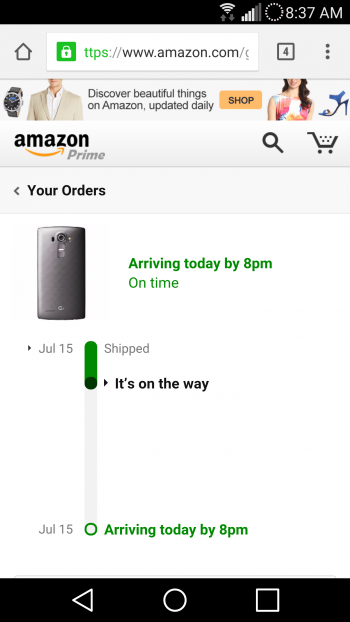 LG G4 shipped by Amazon