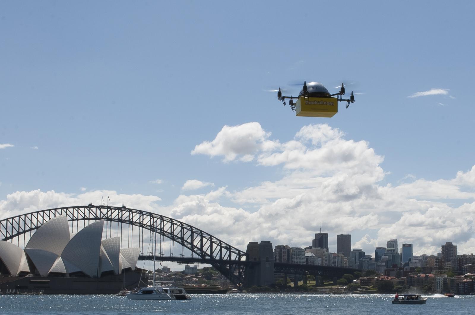 Flirtey drone delivering textbooks in Australia