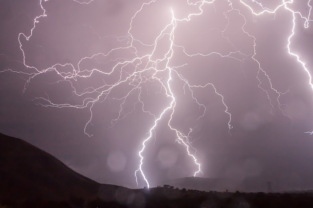 Rocky lightning strike