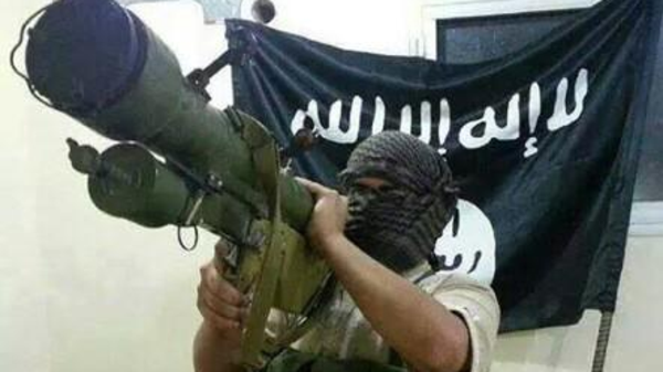 Isis militant armed with a rocket launcher