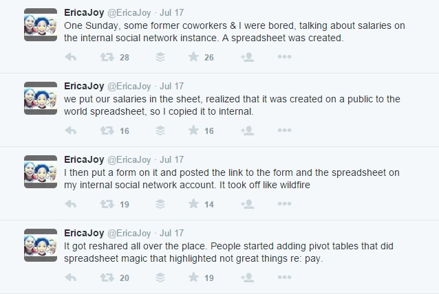 Erica Joy tweets Google pay inequality