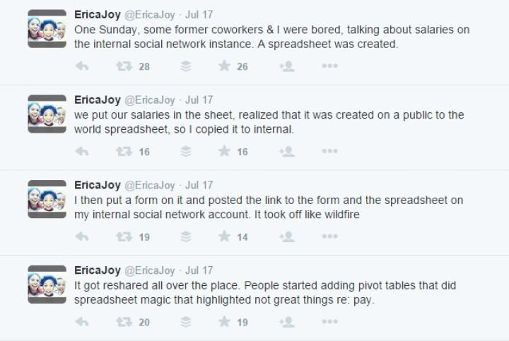 Erica Joy tweets Google pay inequality