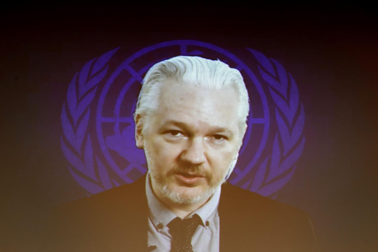 Julian Assange speaking via webcast to UN