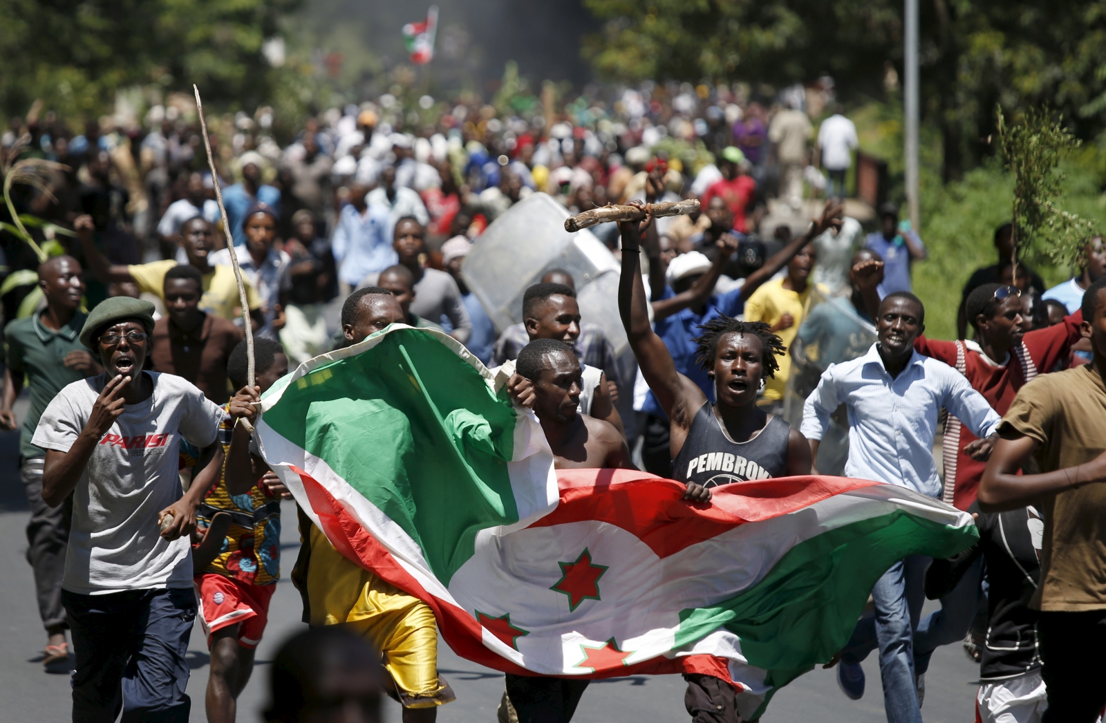 Burundi protesters flag