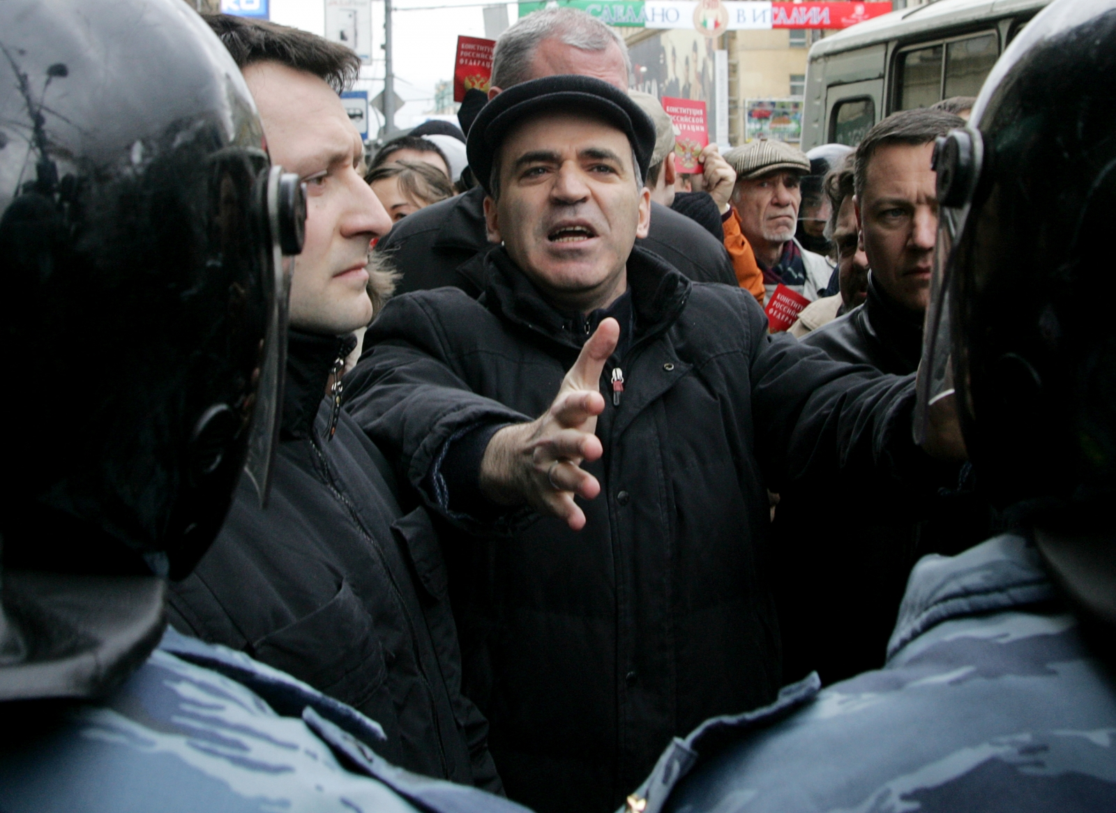 Kasparov was arrested at a