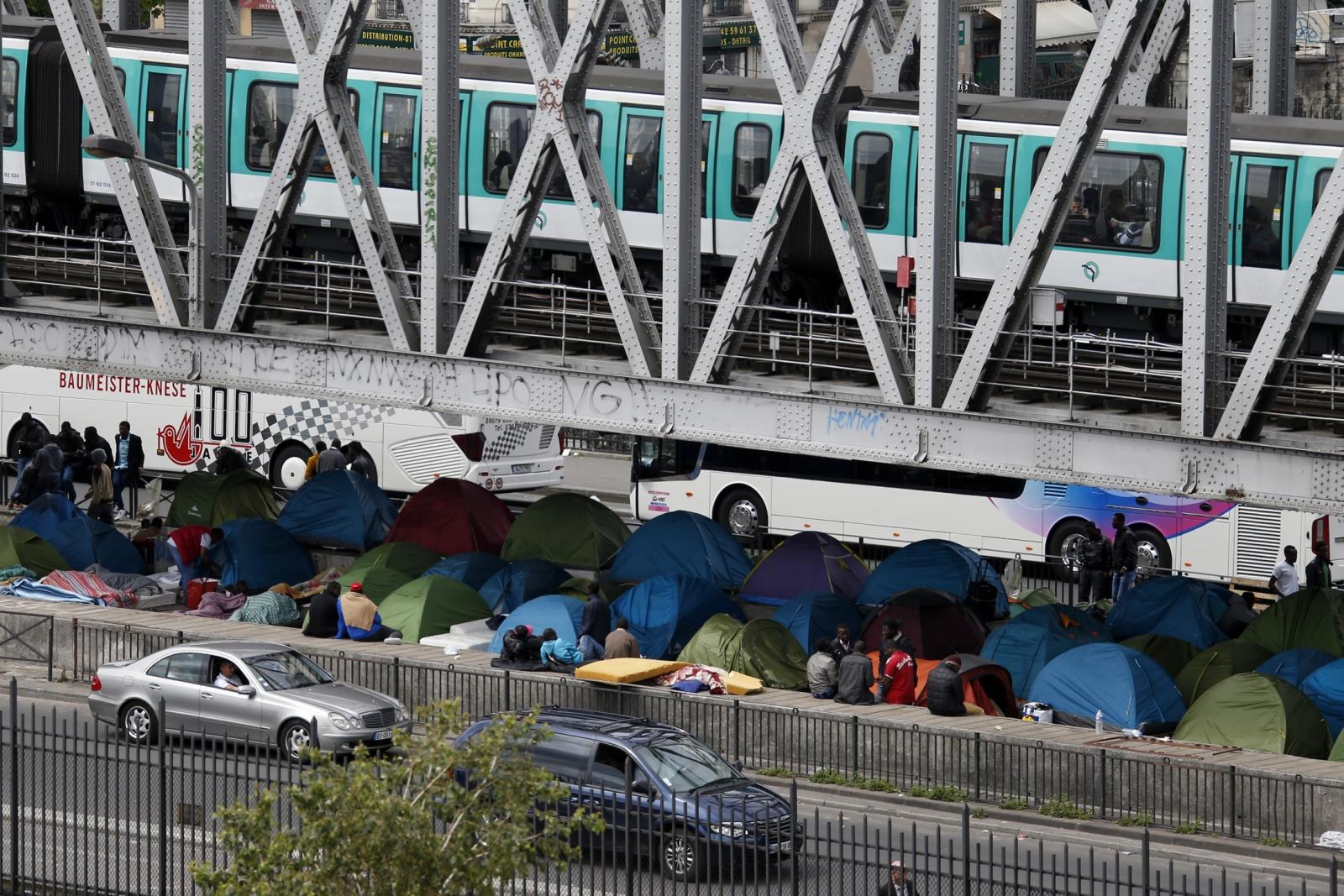 Migrants camp in Calais