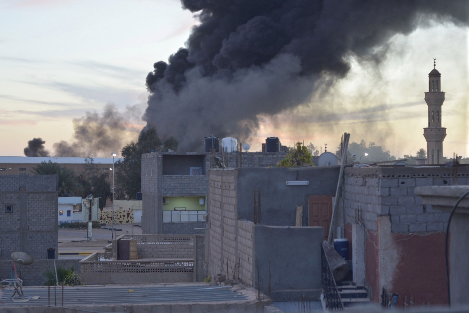 Black smoke billows from Sabha