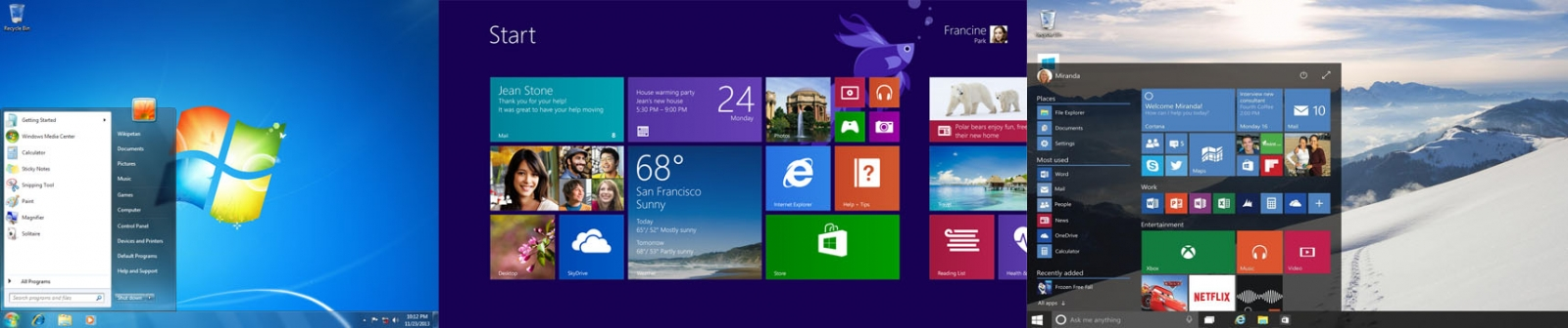 Windows 10, Windows 8.1 and Windows 7