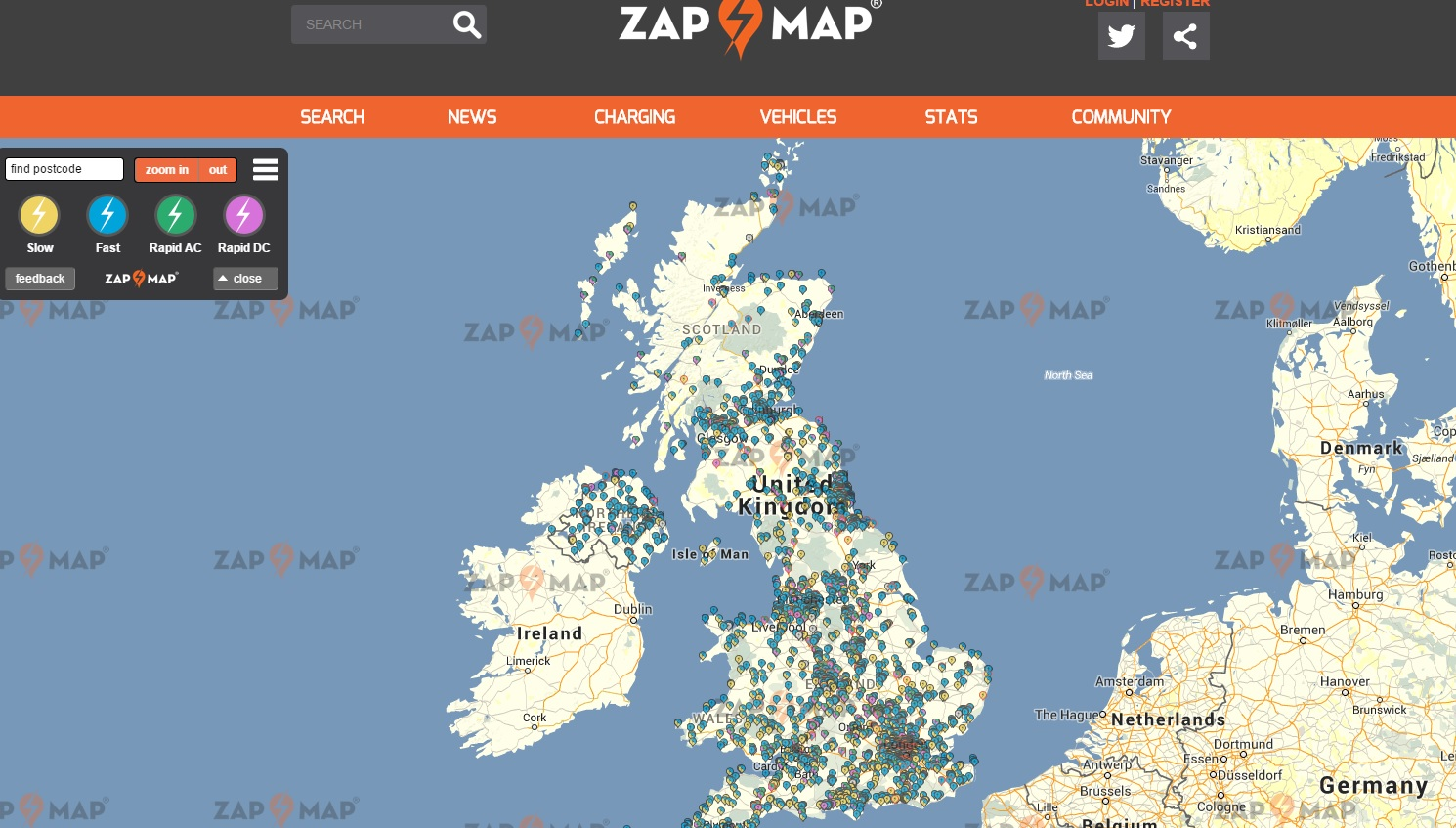 Map of EV chargers in the UK