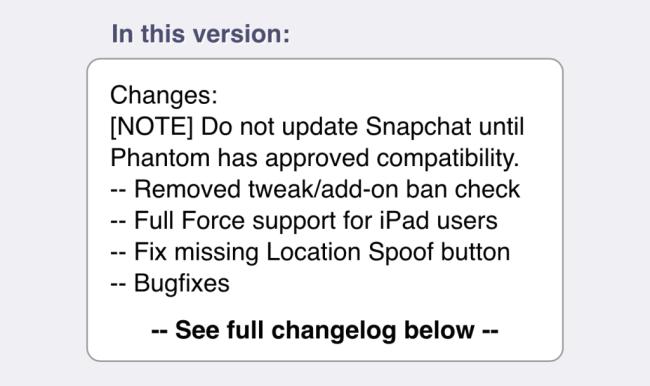 Phantom tweak (4 3 2) updated to avert Snapchat\'s potential