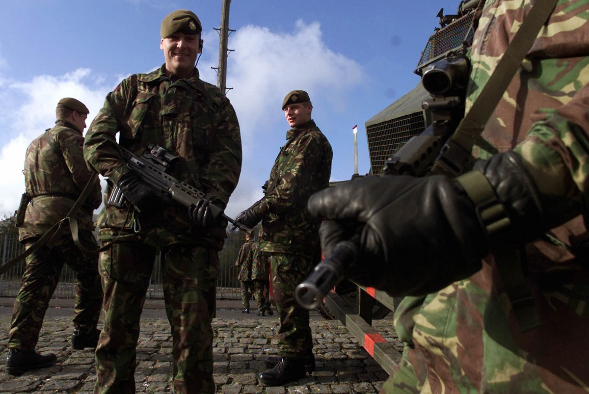 Scots Guards patrol Belfast Northern Ireland