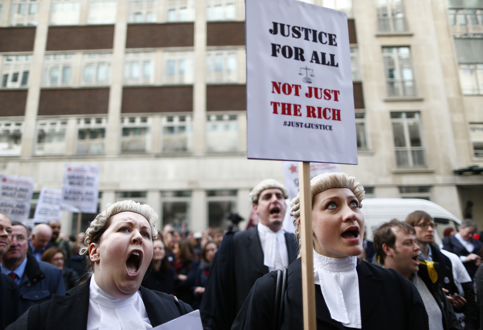 Barristers protest cuts to legal aid