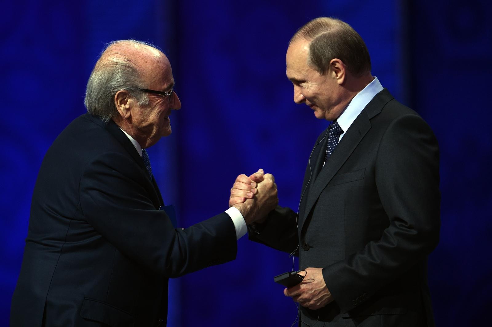Sepp Blatter and Vladimir Putin at the