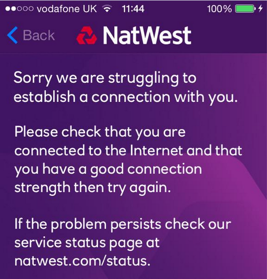 Natwest confirms online banking suffering problems