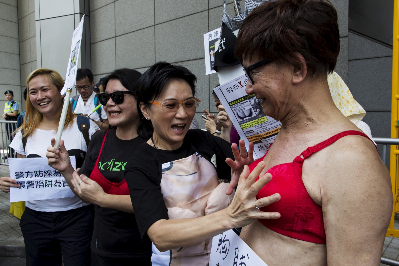 Protesters wear bras in Hong Kong