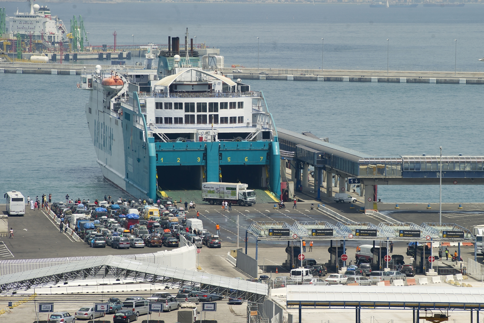 A Ferry from Ceuta docks in Spain