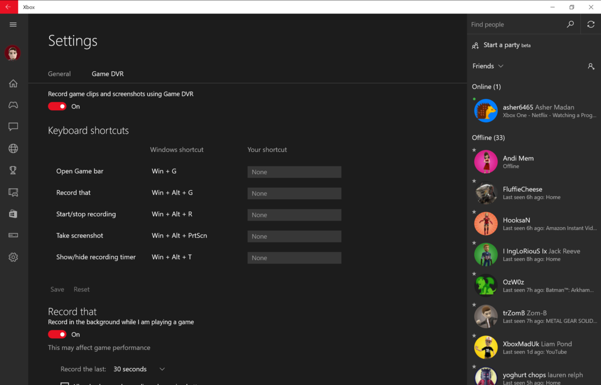 Windows 10 Game DVR feature