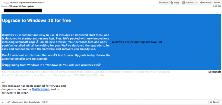Windows 10 spam emails