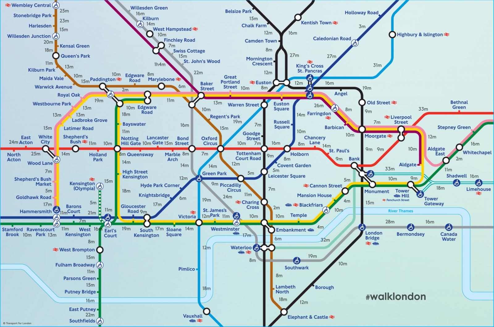 Tube map walking time