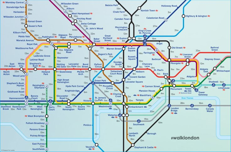 Tube map walking time