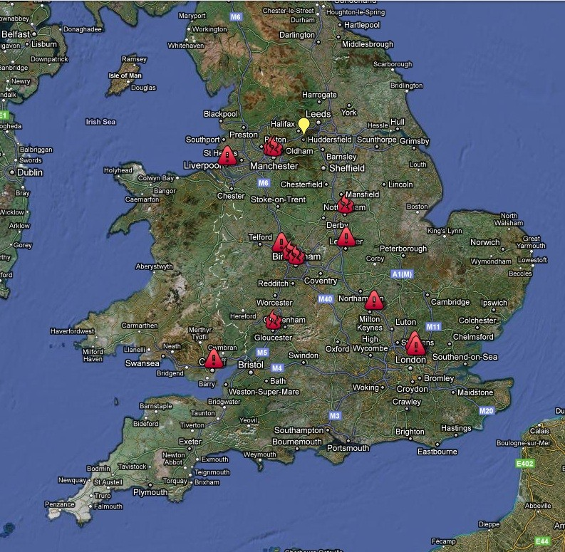 google map shows uk riot looting zones