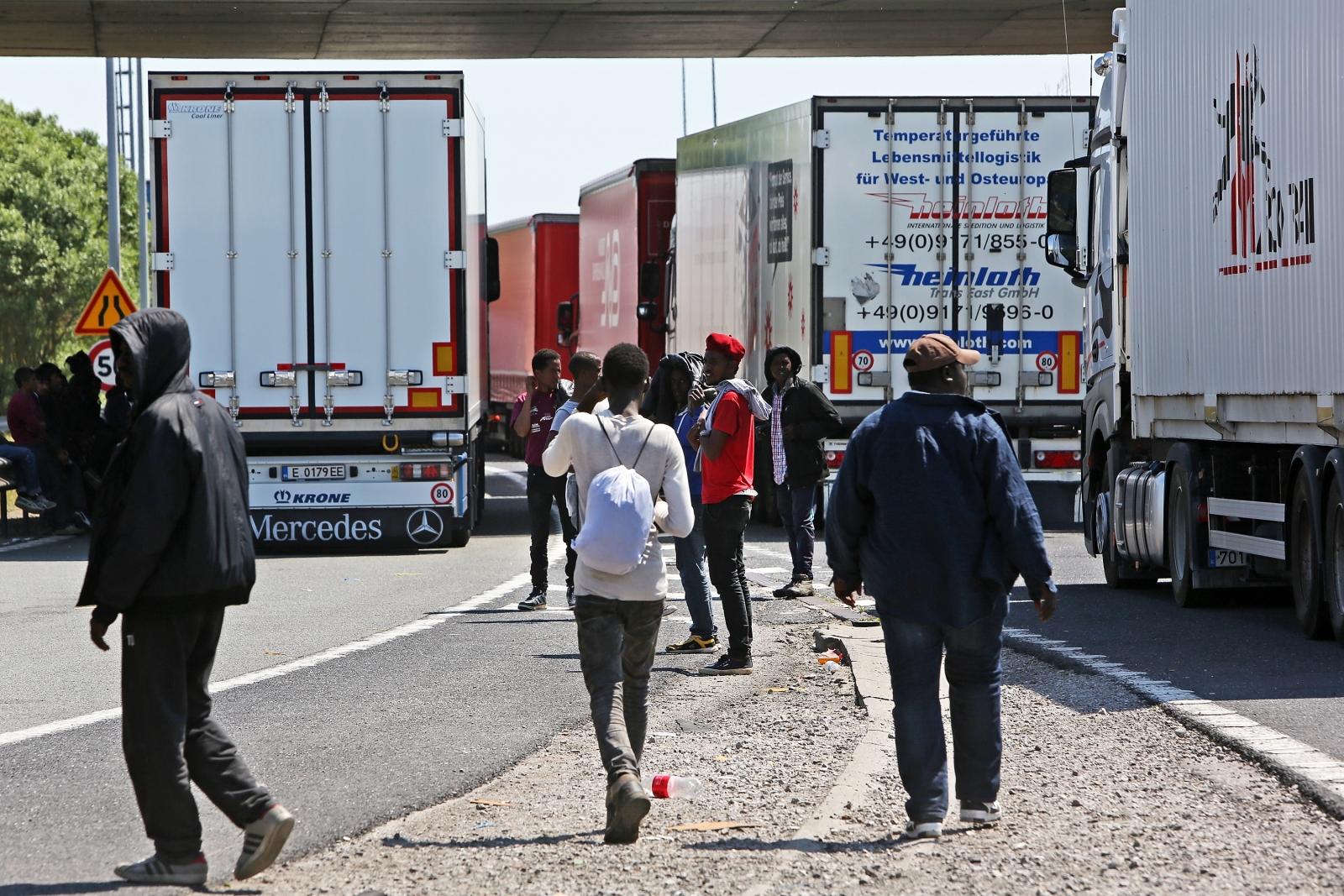 Migrants in Calais eye up lorries