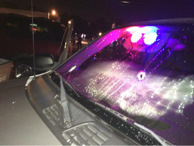 Bullet holes on a Ferguson car