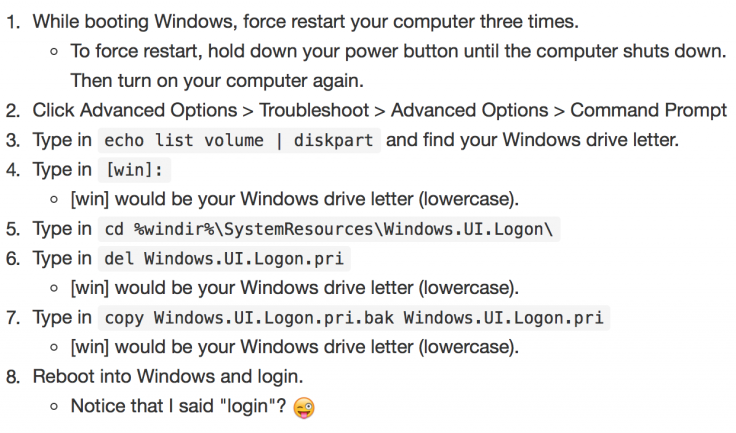 Windows 10 login issues