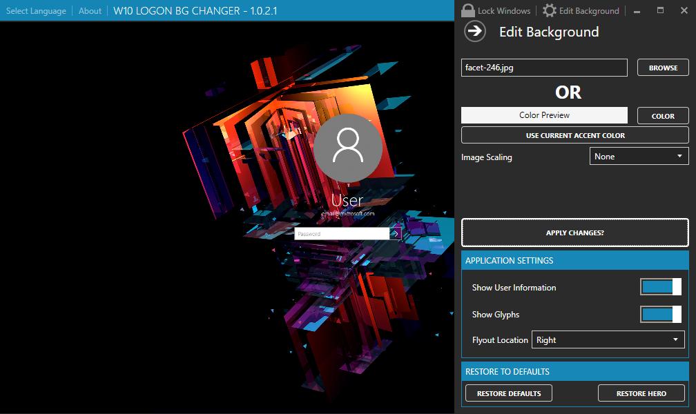 Windows 10 Login screen changer