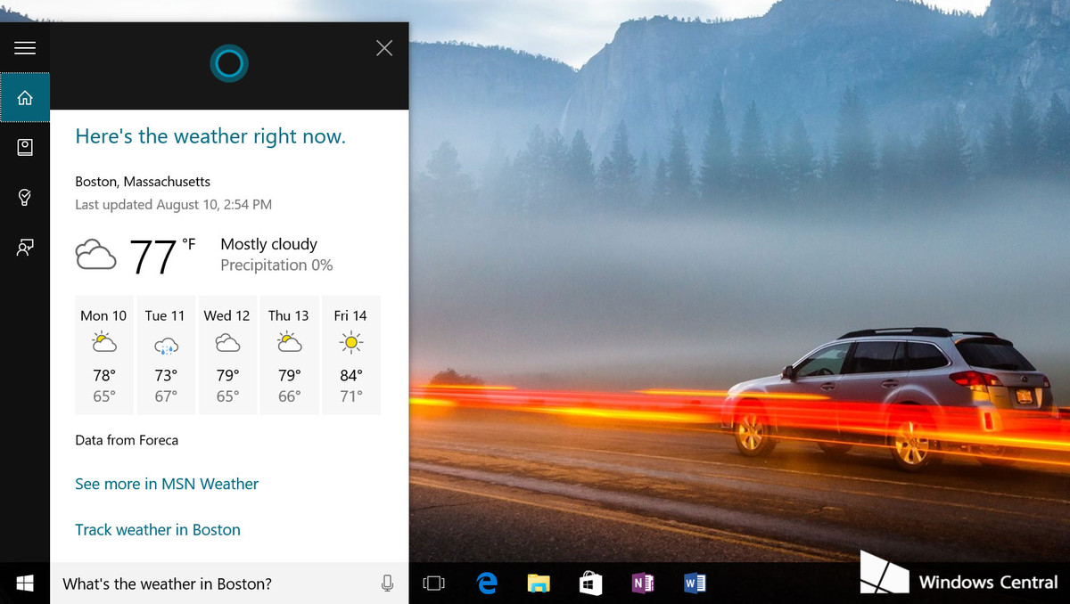 Windows 10 Cortana Weather status