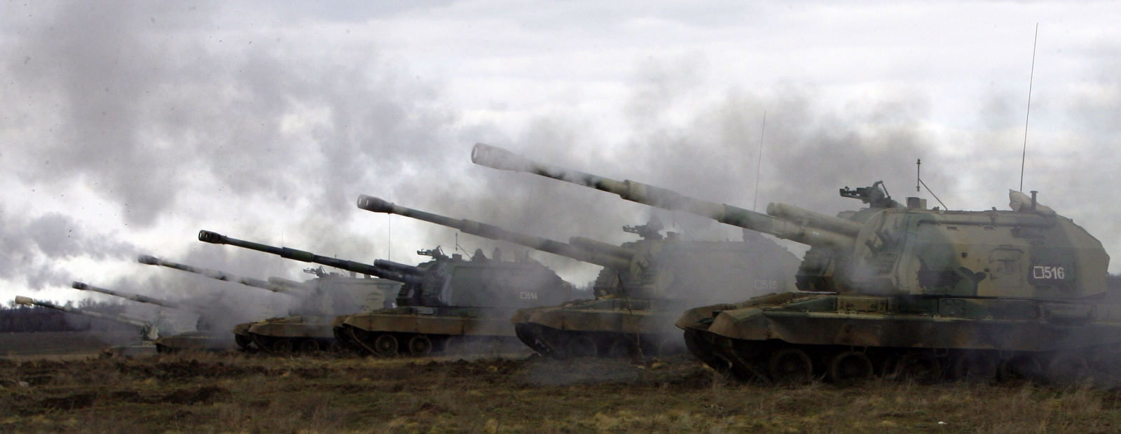 Russian Msta-S self-propelled howitzers fire