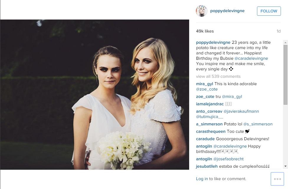 Poppy Delevingne wishes sister Cara 'happy birthday'