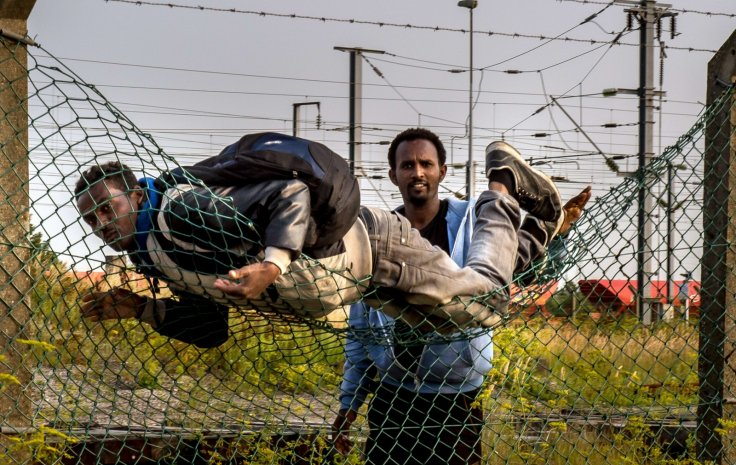 Migrants climb over fences