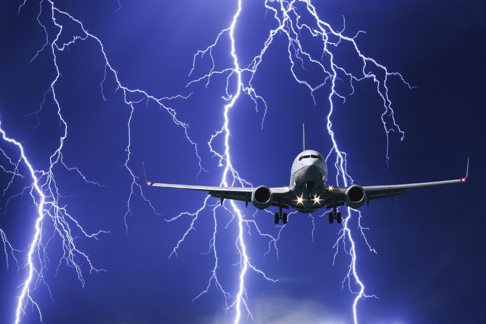 plane in lightning