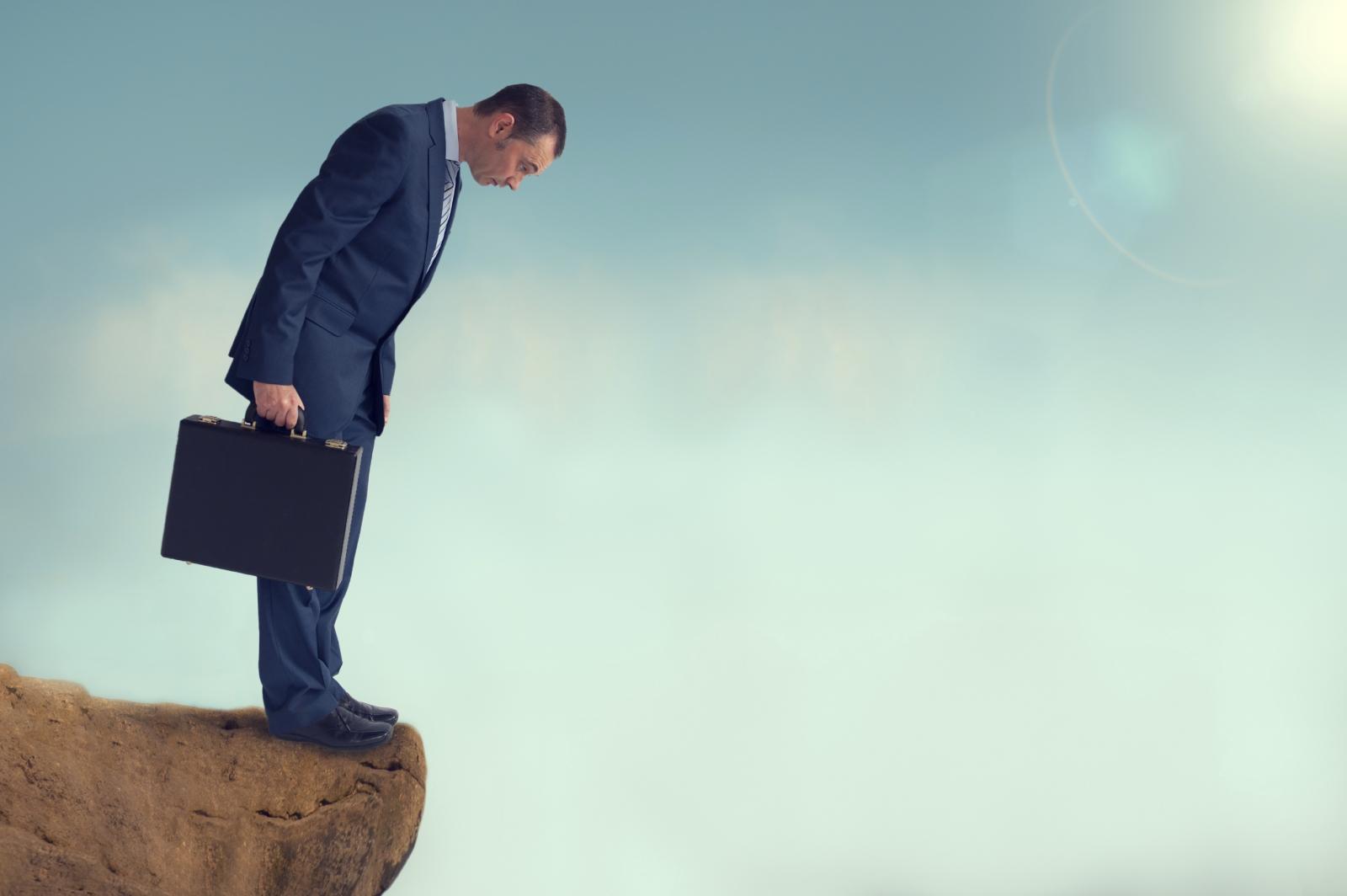 Abyss Businessman Precipice Edge