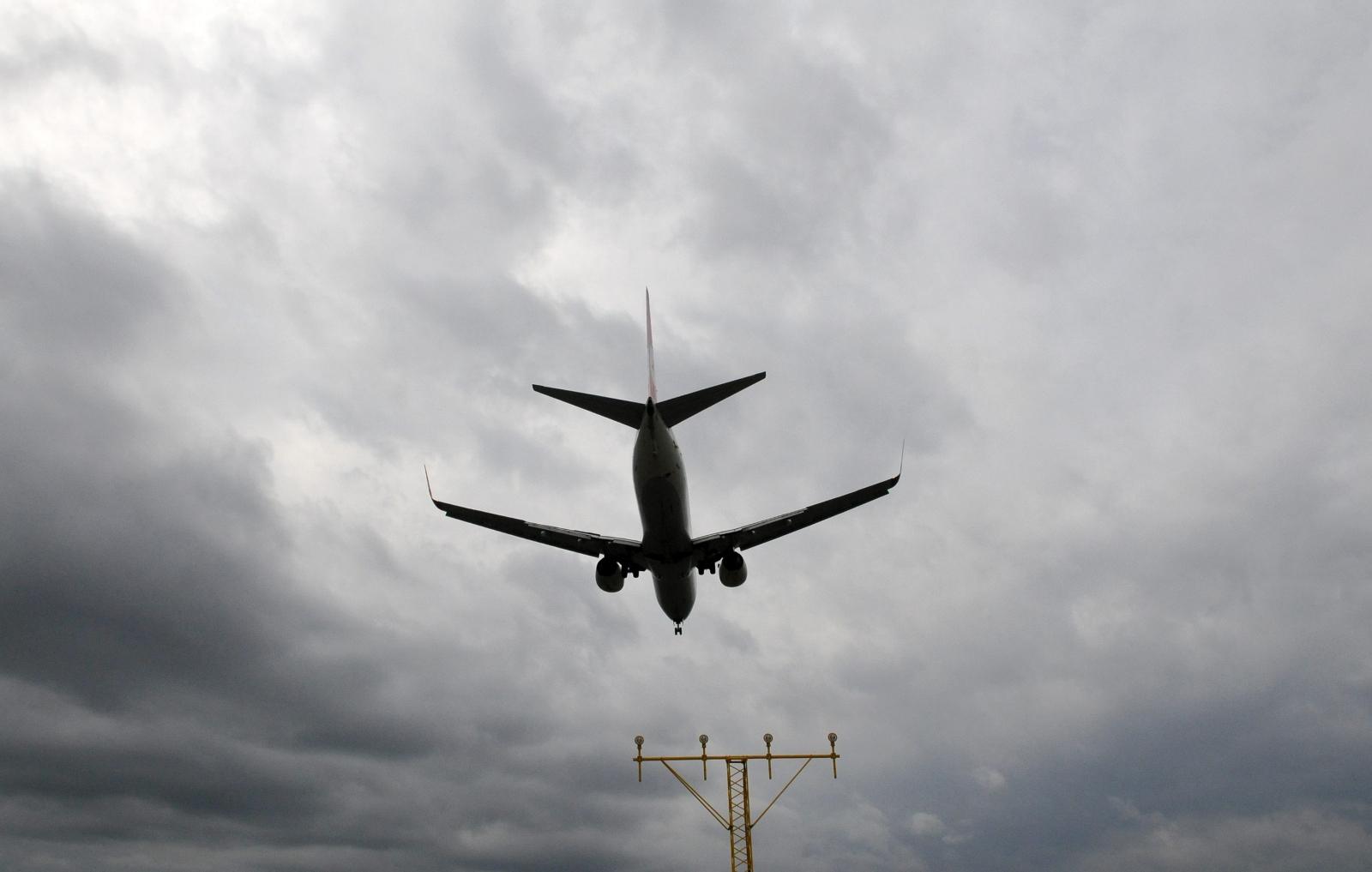 A plane lands at Stockholm's Arlanda Airport