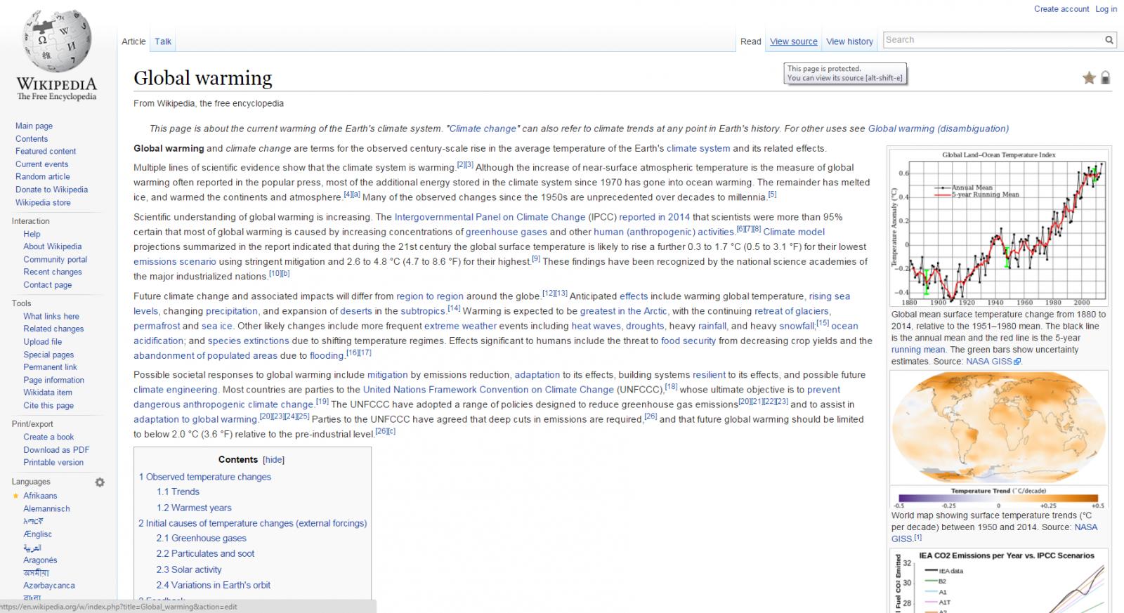 Wikipedia Global Warming page