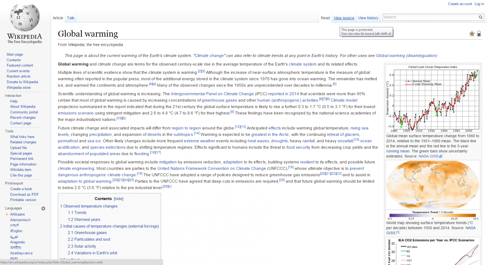 Wikipedia Global Warming page