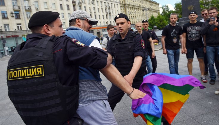 Police arrest a gay rights activists