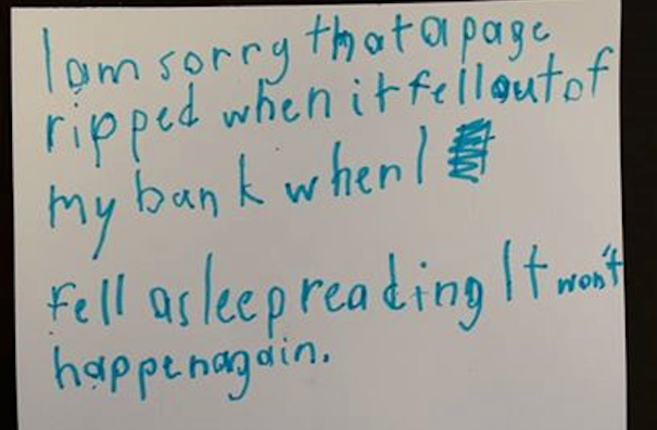 Note found on ripped library book