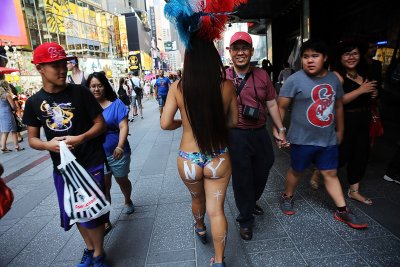 Times Square New York topless