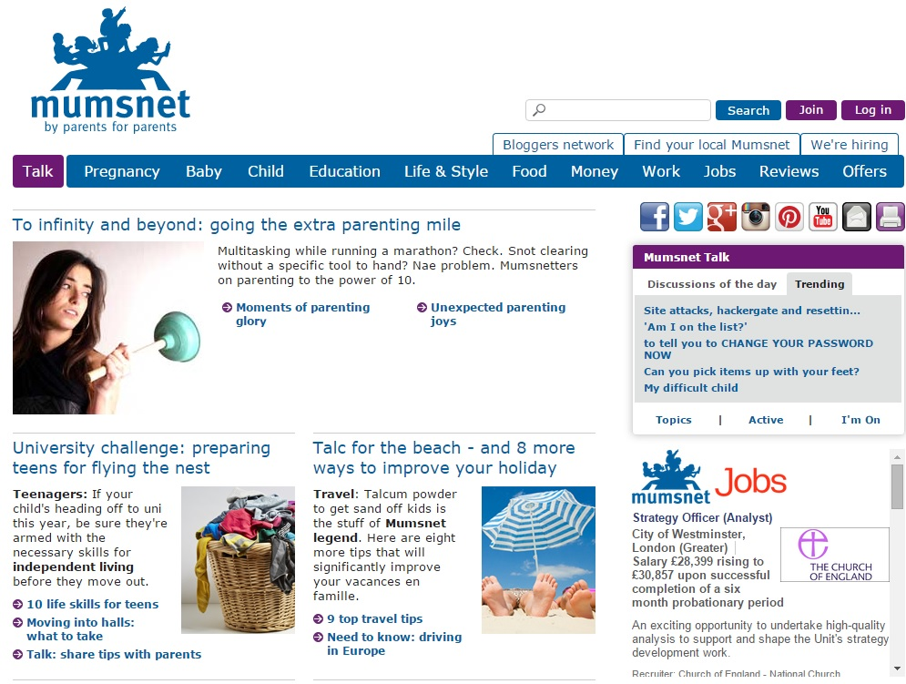 Mumsnet parenting website