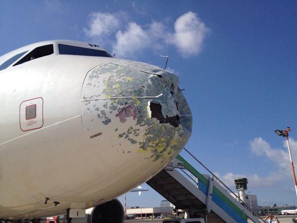 Alitalia Flight AZ2016 hailstorm damage