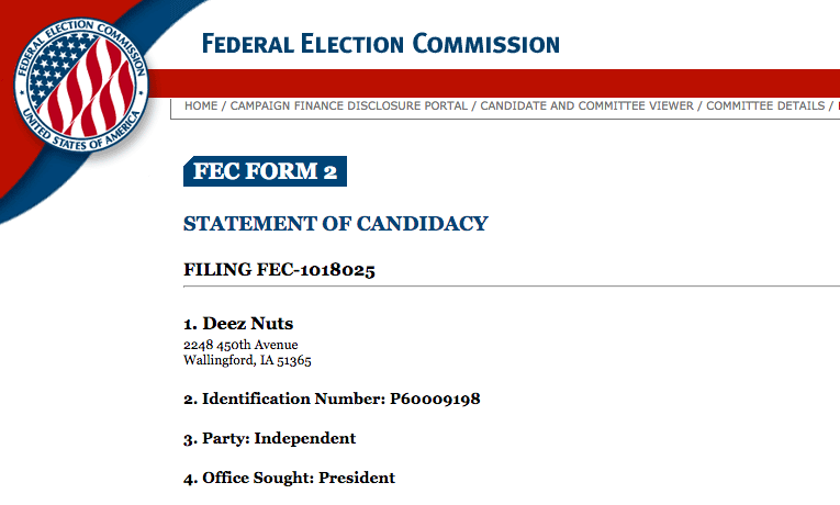 Federal Election Commission filing