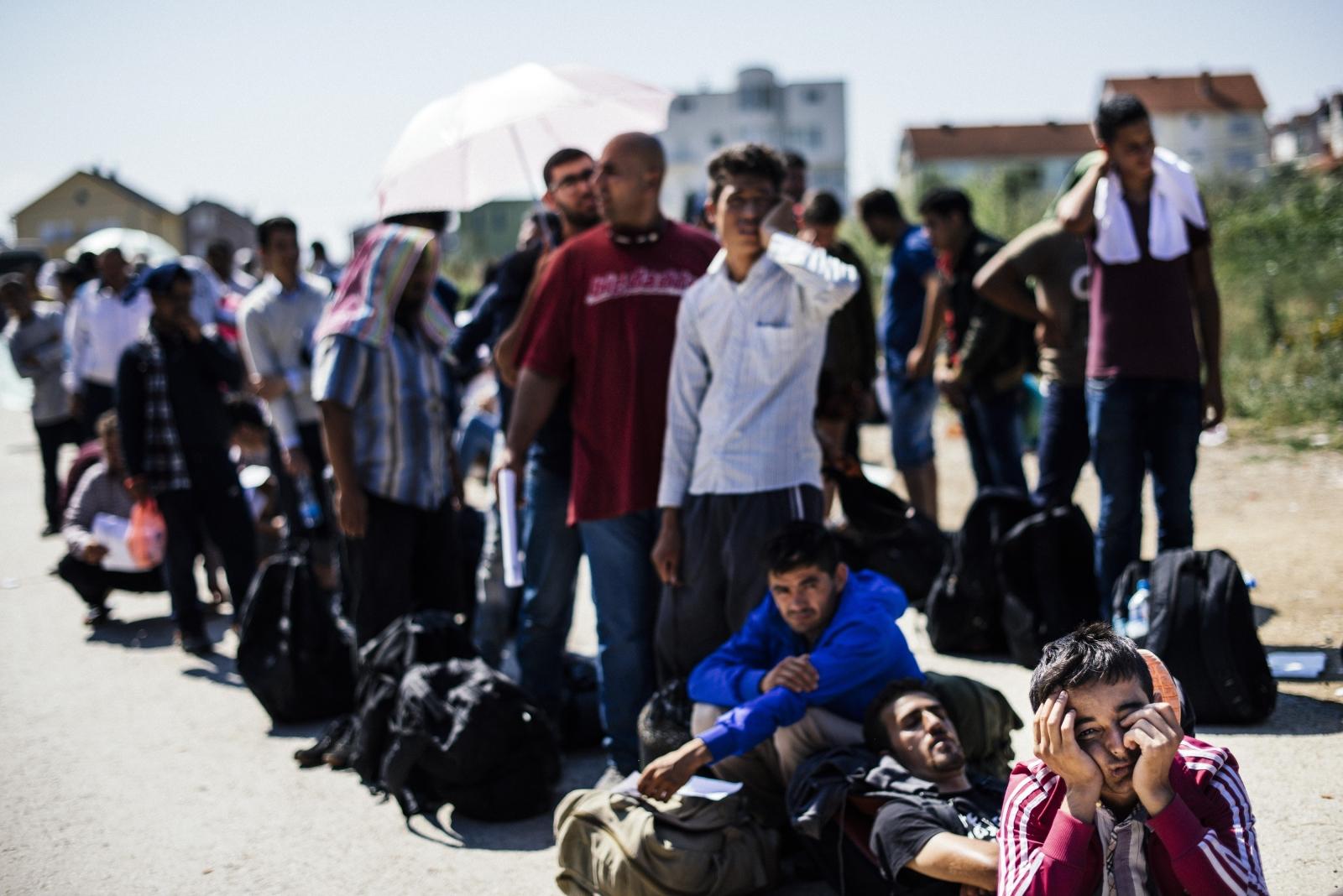 Immigrants wait to enter Macedonia