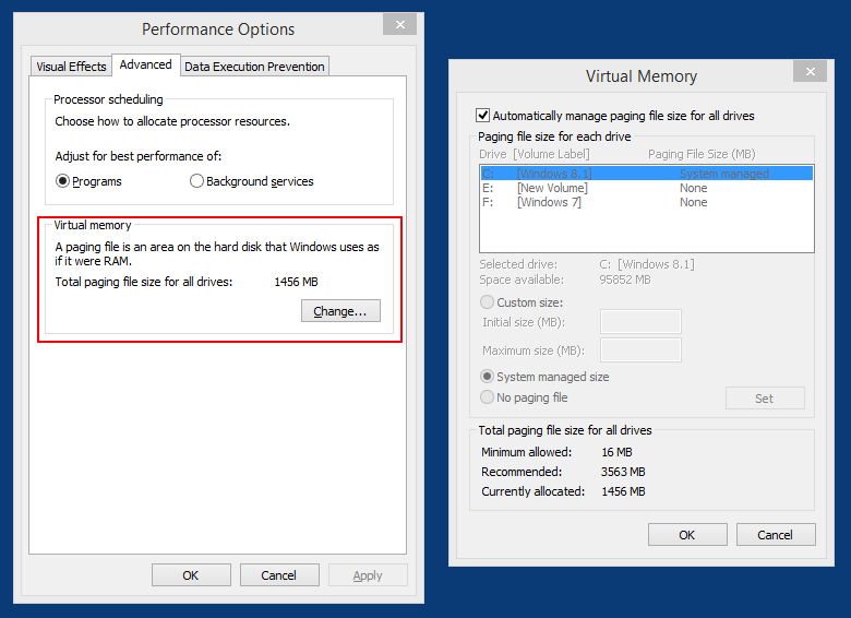 Windows 10 performance options